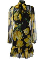 Dolce And Gabbana Tulip Print Sheer Dress Black