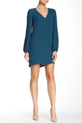 Eight Sixty Long Sleeve Cutout Back Solid Shift Dress Green