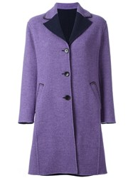 Etro Contrast Lapels Buttoned Coat Pink And Purple