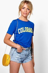 Boohoo Colorado Slogan T Shirt Cobalt
