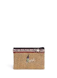 Venna 'Love' Pearl Star Chain Embellished Boucle Clutch Multi Colour
