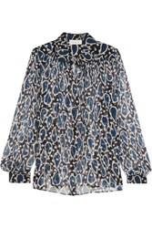 Paul And Joe Esoupolait Printed Silk Chiffon Shirt Navy