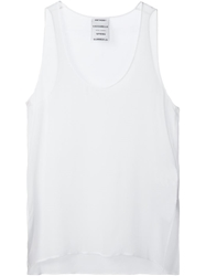 Anthony Vaccarello Sheer Tank Top White