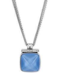 Kenneth Cole New York Silver Tone Blue Faceted Stone Pendant Necklace