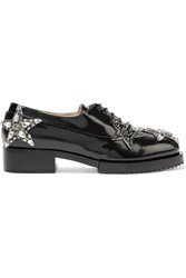 N 21 No. Embellished Glossed Leather Brogues Black
