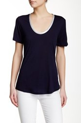 J.Crew Factory Moex Satin Neck Tee Blue