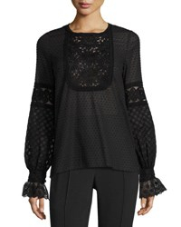 Andrew Gn Long Sleeve Swiss Dot Peasant Top Black