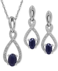 Macy's Sapphire 1 1 3 Ct. T.W. And Diamond Accent Pendant Necklace And Drop Earrings Set In Sterling Silver
