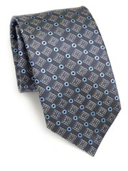 Saks Fifth Avenue Plaza Silk Tie Grey Blue