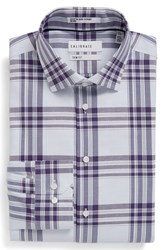 Calibrate Men's Big And Tall Trim Fit Plaid Non Iron Stretch Dress Shirt Purple Mulberry