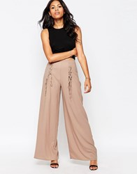 Love Wide Leg Trousers With Lace Up Detail Mushroom Beige