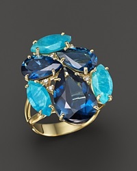 Vianna Brasil 18K Yellow Gold Ring With Amazonite London Blue Topaz And Diamond Accents Blue White