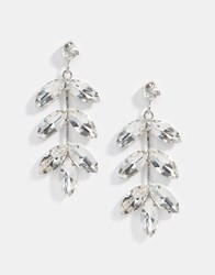 Designsix Gem Leaf Drop Earrings Rhodiumjet