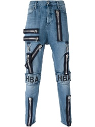 Hood By Air Logo Patch Zipped Jeans Blue