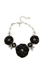 Oscar De La Renta Resin Rose Necklace Black Silver
