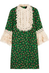 Anna Sui Lace Trimmed Printed Silk Cloque Mini Dress Green