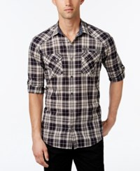 Inc International Concepts Men's Knight Plaid Long Sleeve Shirt Only At Macy's Dried Cranberry