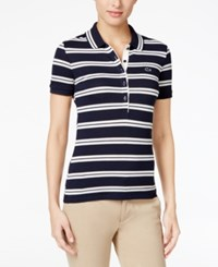 Lacoste Short Sleeve Striped Polo Navy Blue Flour