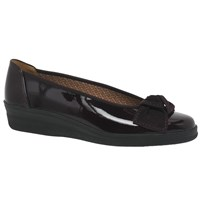 Gabor Lesley Wide Fit Leather Wedge Pumps Merlot Patent