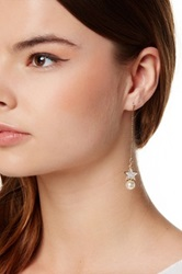 T J Designs Pave Star And Faux Pearl Stud Dangle Earrings White