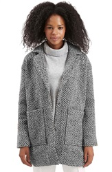 Topshop 'Jacqui' Textured Herringbone Jacket Grey