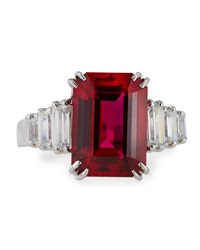 Fantasia Radiant Cut Synthetic Ruby And Cz Ring