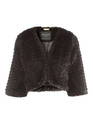 Jane Norman Black Faux Fur Shrug Black