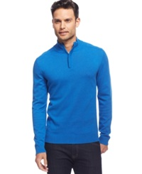 Alfani Red Solid Slim Fit Quarter Zip Sweater Cobalt Blue Heather