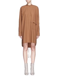 Helmut Lang Cotton Twill Parka Shirt Dress Brown
