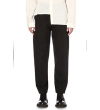 Isabel Benenato Relaxed Fit Wide Wool Trousers Black