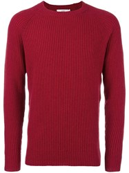 Closed Ribbed Crew Neck Jumper Red