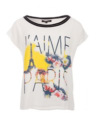Morgan Short Sleeve T Shirt With Paris Design Winter White