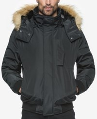 Marc New York Knox Memory Bomber Jacket With Faux Fur Hood Black