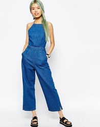 Asos Denim Wide Leg Halterneck Jumpsuit Blue