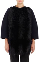 Barneys New York Women's Fur Front Melton Coat Navy