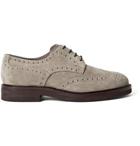 Brunello Cucinelli Suede Wingtip Brogues Brown