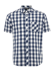 Army And Navy Farmoor Short Sleeved Gingham Check Shirt Navy