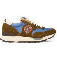 Visvim Roland Embroidered Suede And Mesh Sneakers Brown