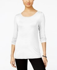 Cable And Gauge Long Sleeve Knit Top White