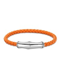 John Hardy Sterling Silver Bamboo Station Bracelet In Orange Leather Orange Silver