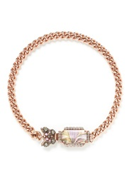 Miriam Haskell Butterfly Charm Chunky Curb Chain Necklace Pink Metallic