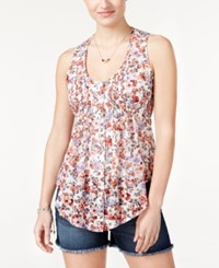 American Rag Printed Pintucked Sleeveless Top Only At Macy's White Combo