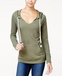 Miss Chievous Juniors' V Neck Hoodie Dusty Olive