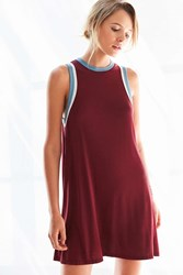 Silence And Noise Tri Color Ringer Tee Dress Maroon