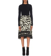 Proenza Schouler Abstract Print Knitted And Silk Georgette Dress Black White Yellow