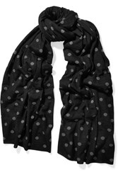 Comme Des Garcons Polka Dot Intarsia Knitted Scarf Black