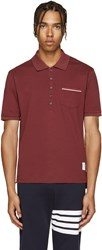 Thom Browne Burgundy Cotton Piqua Polo