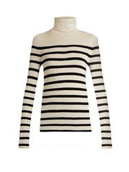 Equipment Wilder Roll Neck Silk And Cashmere Blend Sweater Ivory Multi
