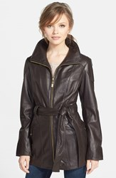 Ellen Tracy Petite Women's Leather Trench Jacket Brown