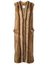 Agnona Diamond Intarsia Sleeveless Coat Brown